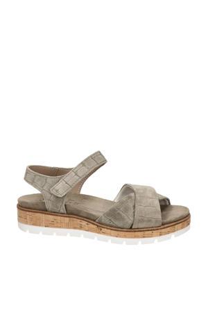 comfort suède sandalen met crocoprint lichtkaki