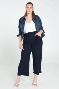Paprika cropped loose fit broek met textuur donkerblauw, Donkerblauw