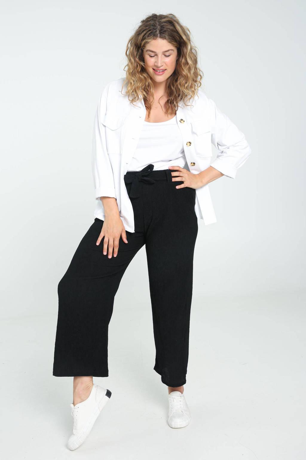 Paprika cropped loose fit broek met textuur zwart, Zwart