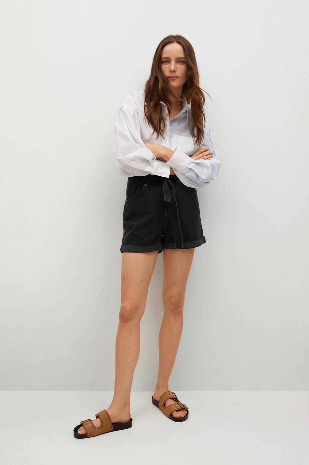 Mango high waist jeans short donkergrijs, Donkergrijs
