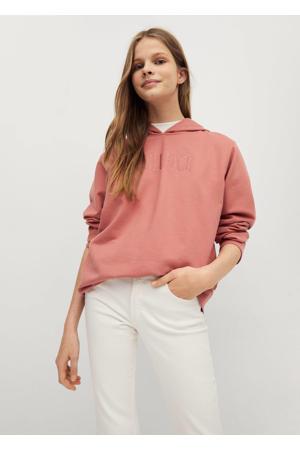 sweater met tekst en borduursels roze