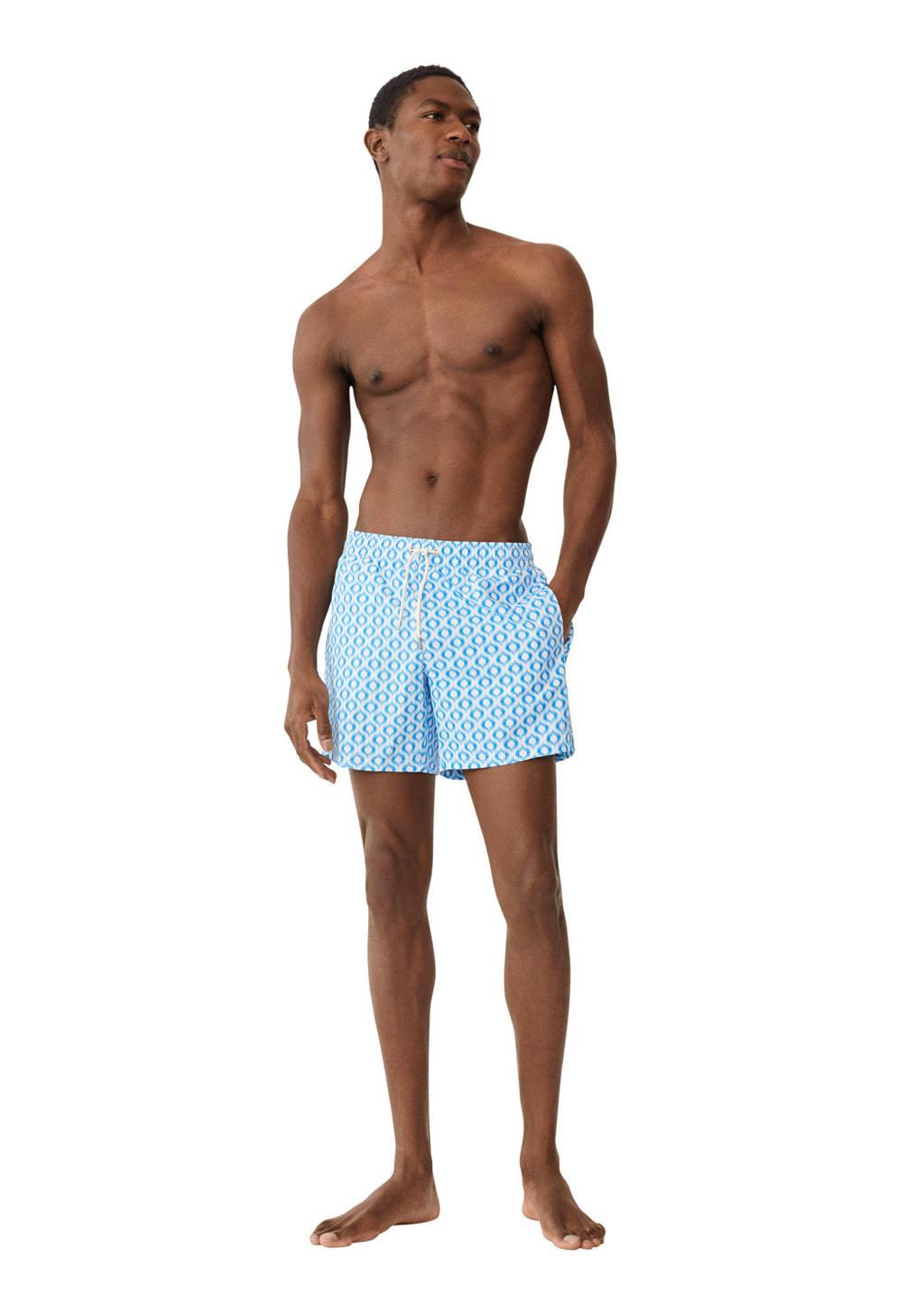 Mango Man zwemshort met all over print lichtblauw/wit, Lichtblauw/wit