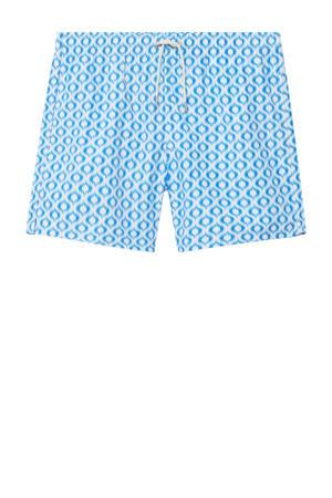 zwemshort met all over print lichtblauw/wit