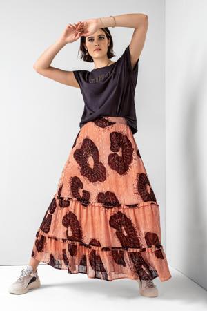 maxi rok Harper met all over print en glitters oranje/bruin