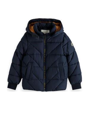 gewatteerde winterjas van gerecycled polyester donkerblauw/camel