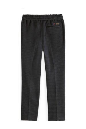 geruite slim fit broek donkerblauw