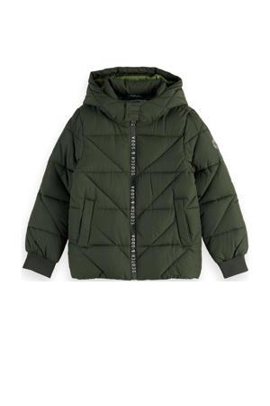 gewatteerde winterjas van gerecycled polyester army groen