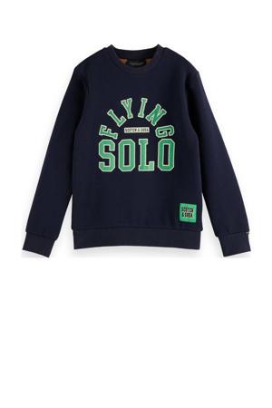 sweater met tekst donkerblauw/groen