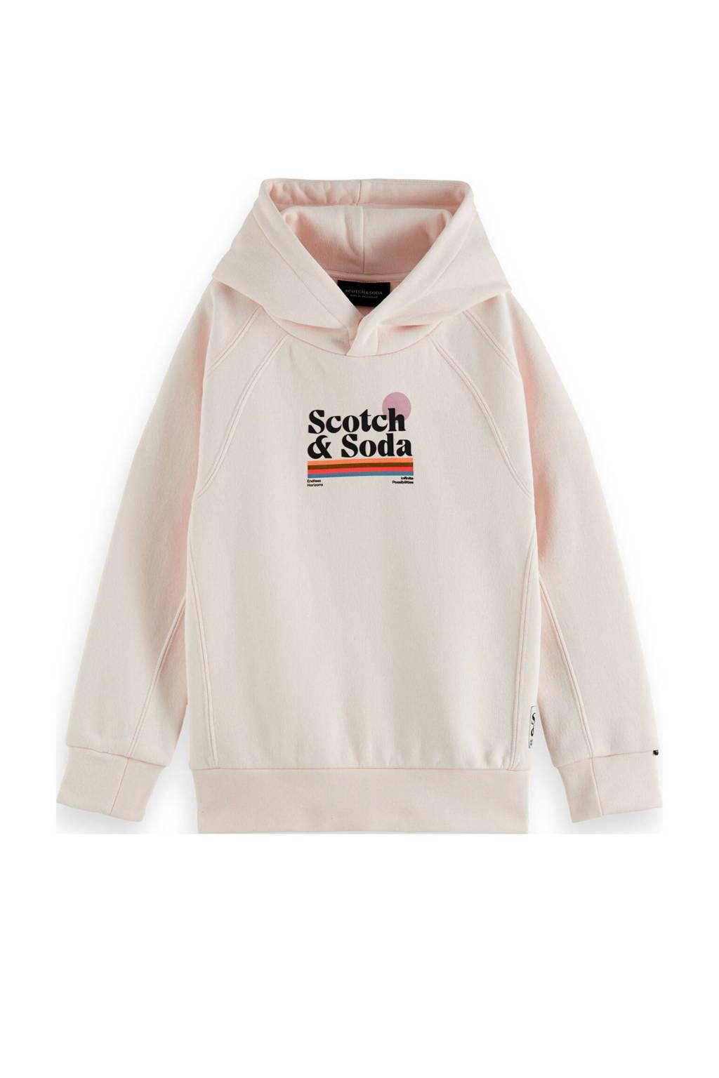 Scotch & Soda hoodie met logo ecru/zwart, Ecru/zwart