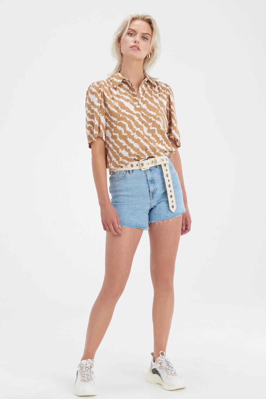 Shoeby Eksept blouse Vinns met all over print en plooien lichtbruin/ecru, Lichtbruin/ecru