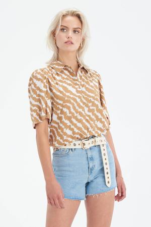 blouse Vinns met all over print en plooien lichtbruin/ecru