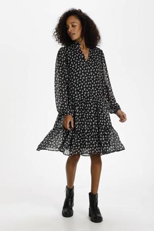 gebloemde semi-transparante jurk KAcaipo zwart/ecru