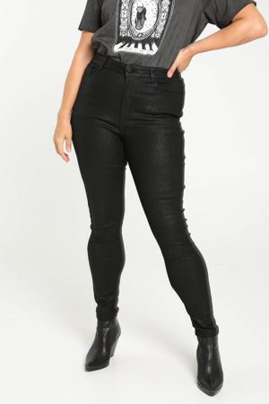 coated skinny broek Feliz met slangenprint zwart