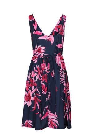 jurk met bladprint en plooien donkerblauw/fuchsia