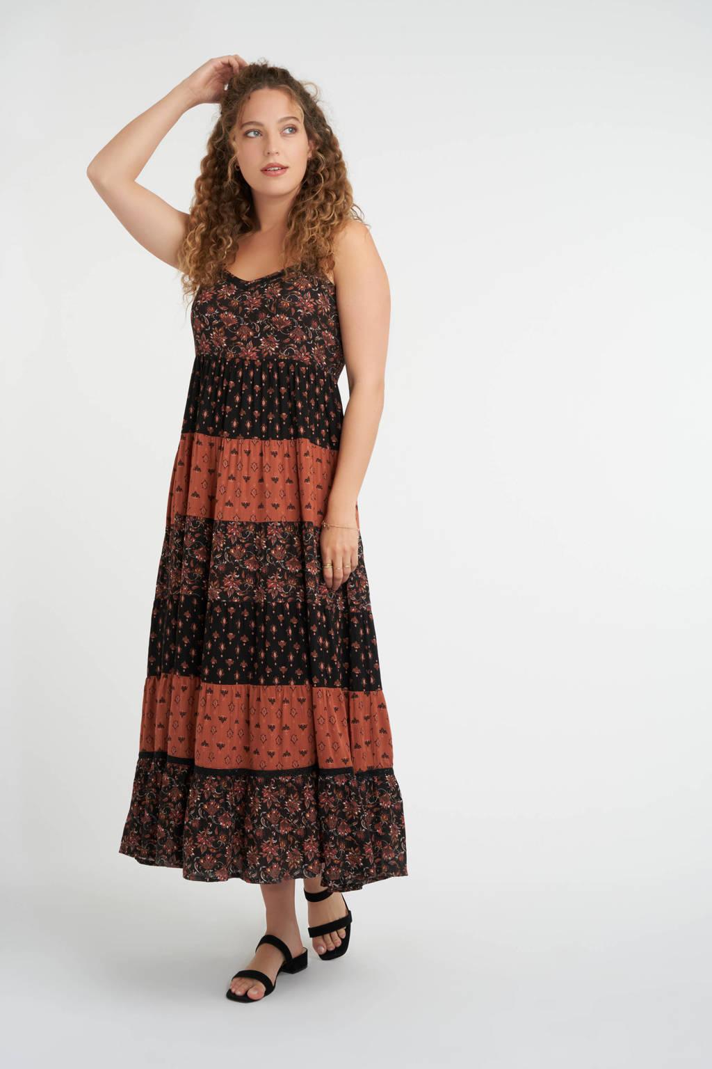 MS Mode maxi A-lijn jurk met all over print en kant zwart/roodbruin/wit, Zwart/roodbruin/wit