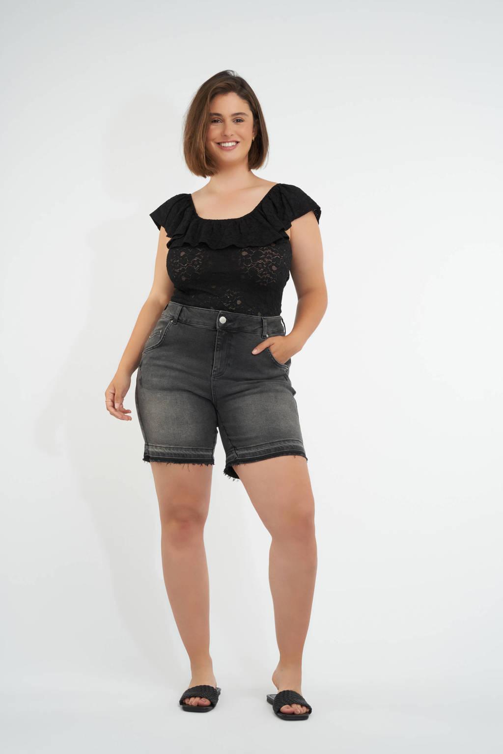MS Mode bermuda jeans antraciet, Antraciet