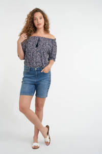 MS Mode skinny jeans short met zijstreep light denim, Light denim