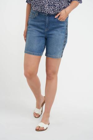 skinny jeans short met zijstreep light denim