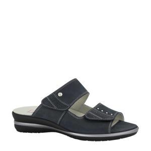 comfort leren slippers donkerblauw
