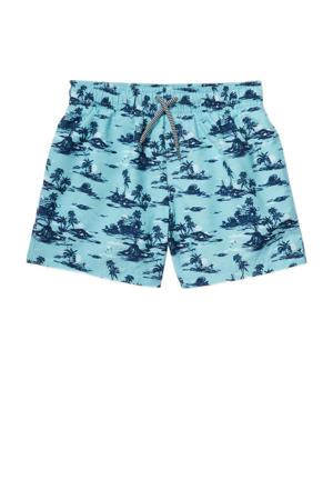zwemshort met all over print lichtblauw/donkerblauw