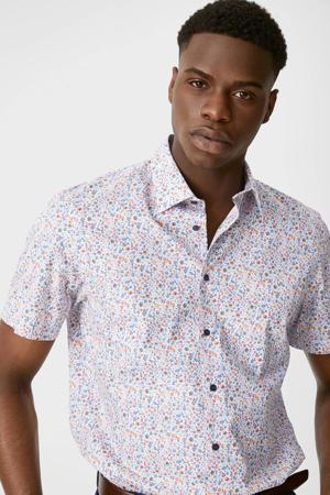 gebloemd regular fit overhemd van biologisch katoen wit