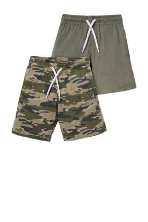 sweatshort - set van 2 camouflage/uni kakigroen