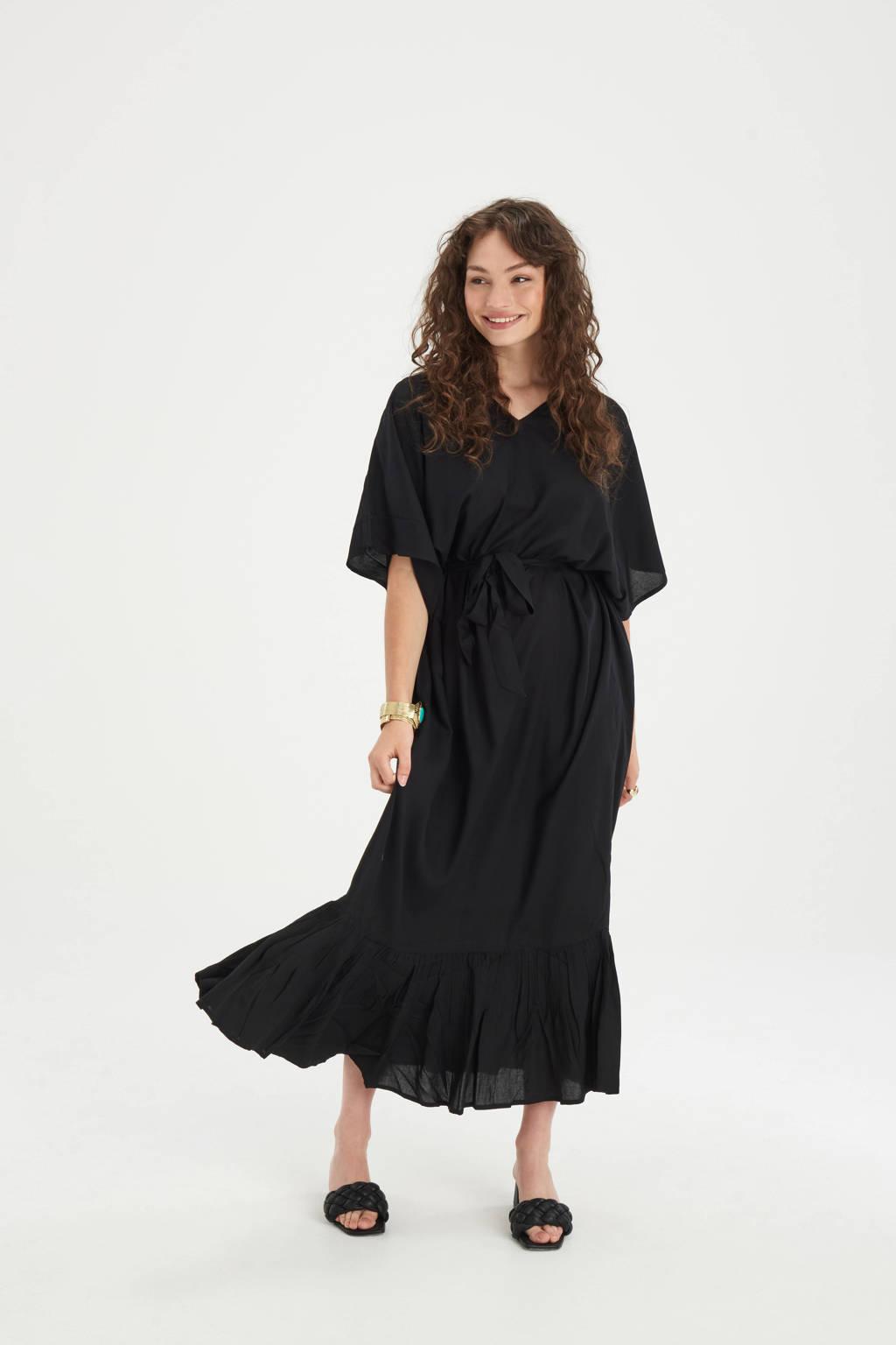 Shoeby Eksept maxi jurk Vinns met ruches zwart, Zwart