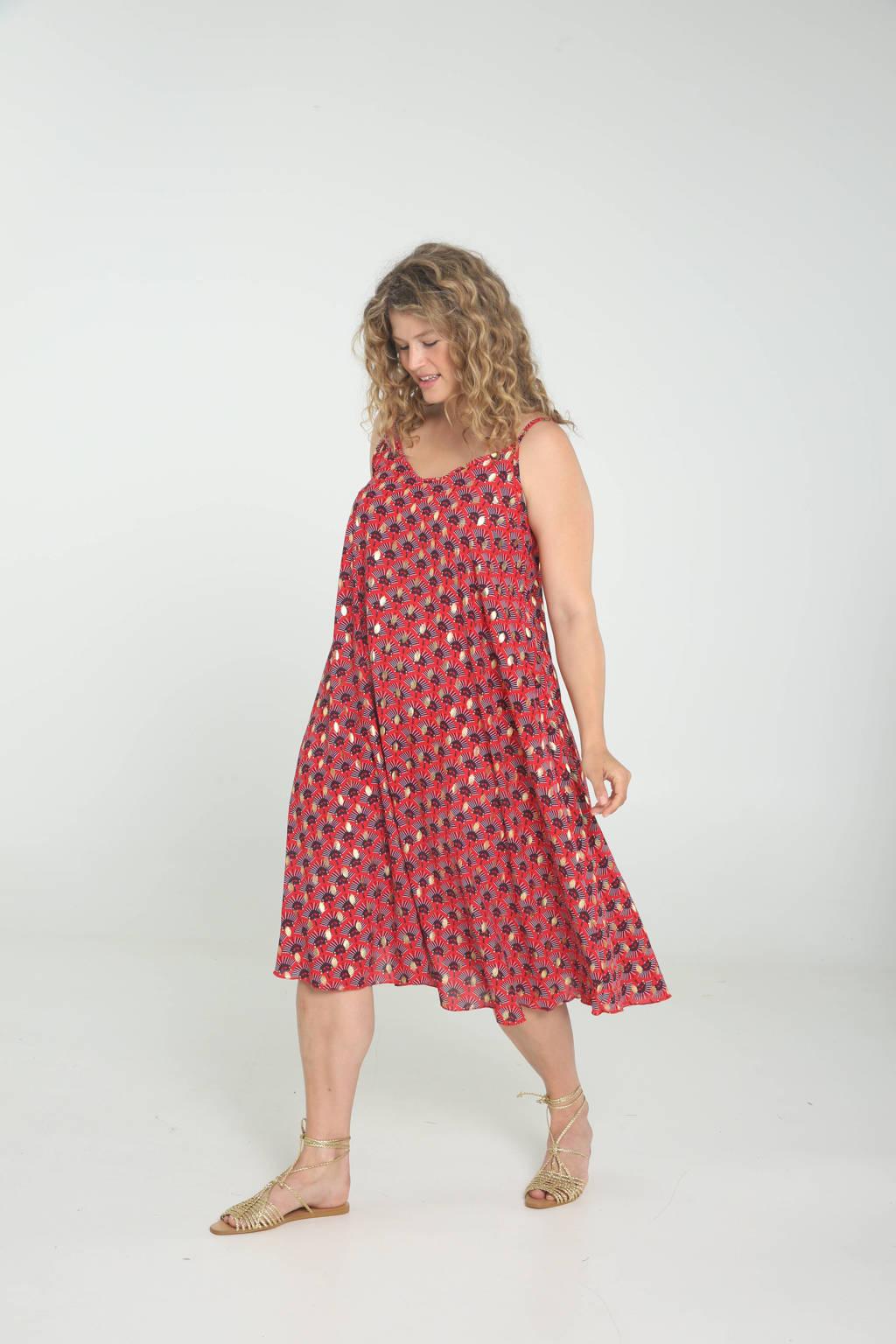 Paprika A-lijn jurk met all over print rood/donkerpaars/goud, Rood/donkerpaars/goud