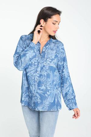 blouse met bladprint blauw