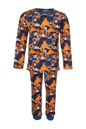 pyjama Dormir met all over print bruin/blauw