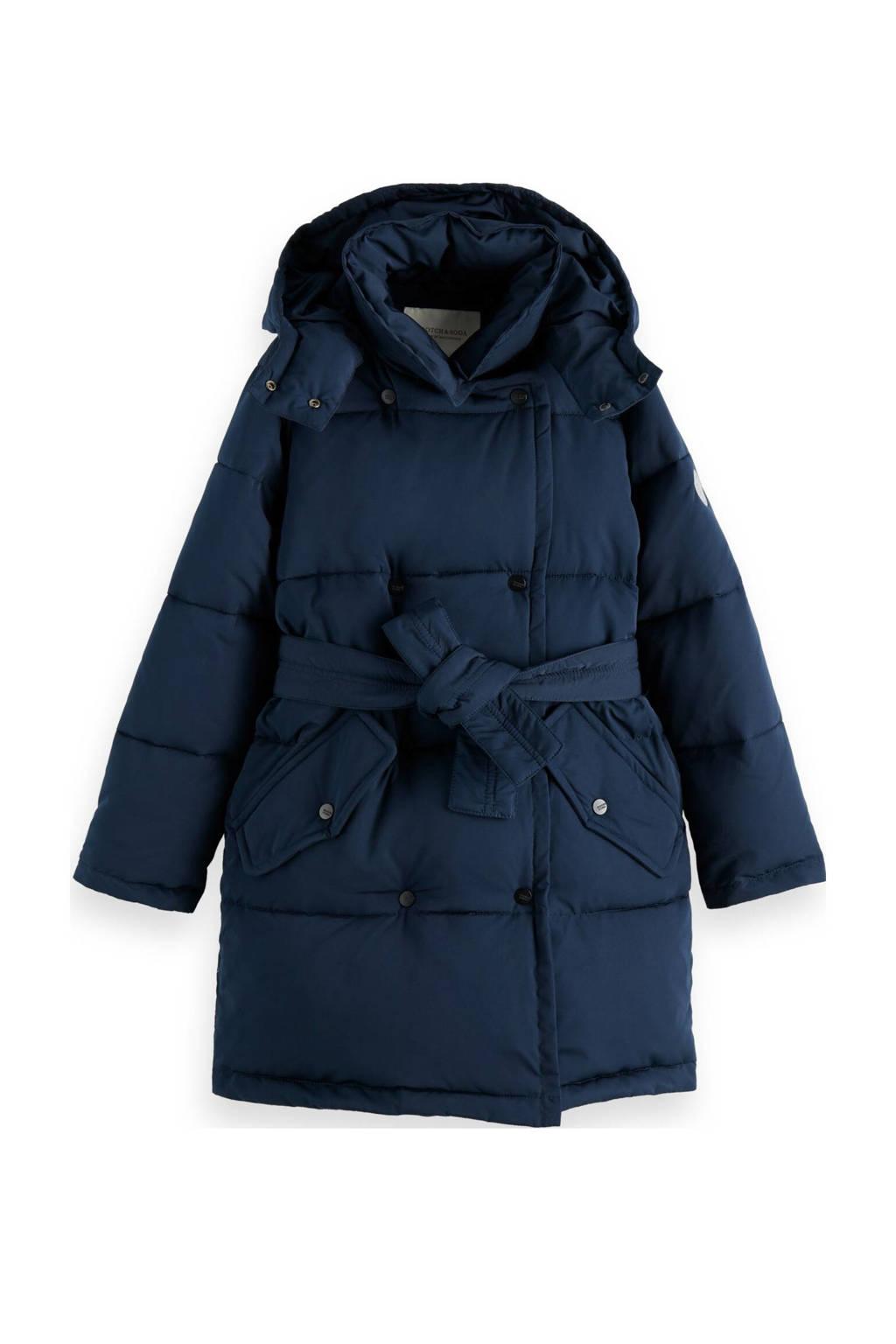Scotch & Soda  winterjas met ceintuur donkerblauw, Donkerblauw