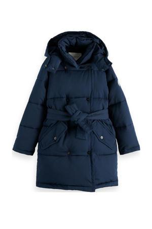 winterjas met ceintuur donkerblauw