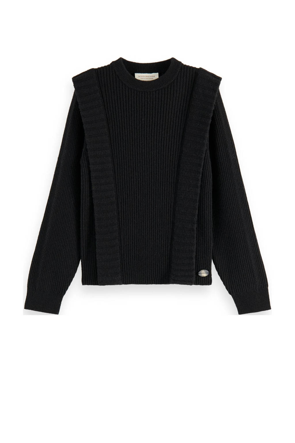 Scotch & Soda trui met wol zwart, Zwart