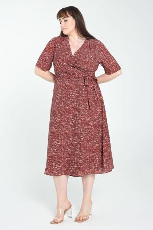 A-lijn jurk met all over print brique/wit