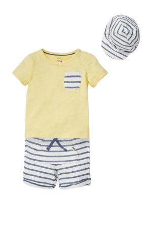 T-shirt + sweatshort en pet geel/wit/donkerblauw