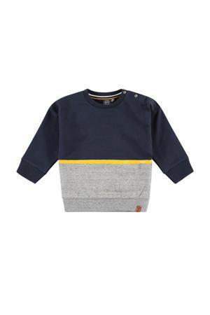 sweater donkerblauw/geel/grijs melange