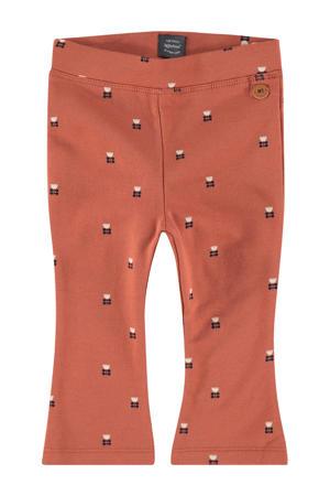 flared broek met all over print oranje