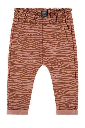 baby broek met dierenprint bruin/oudroze