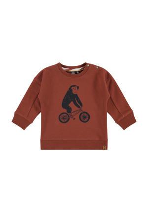 sweater met printopdruk roodbruin/zwart
