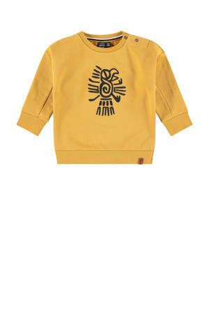 sweater met printopdruk mosterdgeel