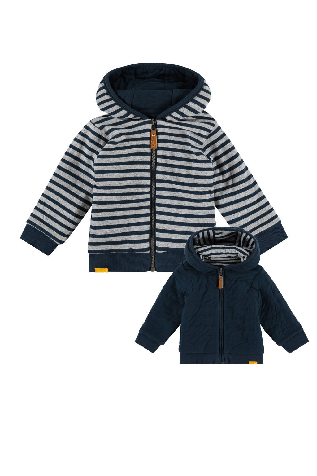 Babyface baby gestreepte reversible winterjas donkerblauw/lichtgrijs melange, Donkerblauw/lichtgrijs melange