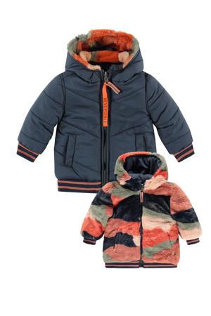 reversible gewatteerde imitatiebont winterjas met all over print blauw/roze