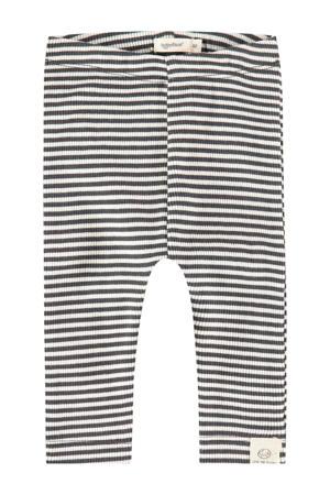 baby gestreepte regular fit broek Unisex Trousers antraciet/ecru