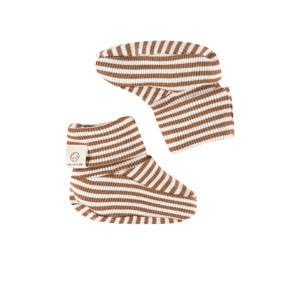 gestreepte babyslofjes bruin/ecru