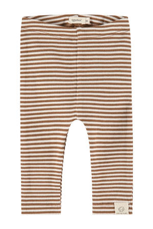baby gestreepte regular fit broek Unisex Trousers bruin/ecru