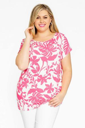 gebloemd T-shirt SELVA wit/roze