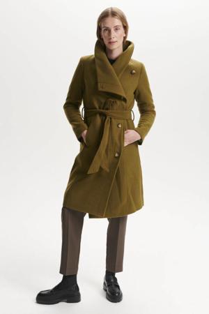 coat Carly Cornel met ceintuur olijfgroen