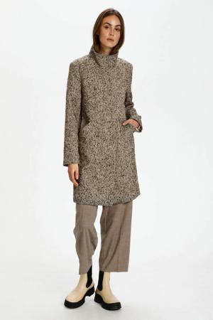 coat Stockholm met wol en visgraat zwart/beige