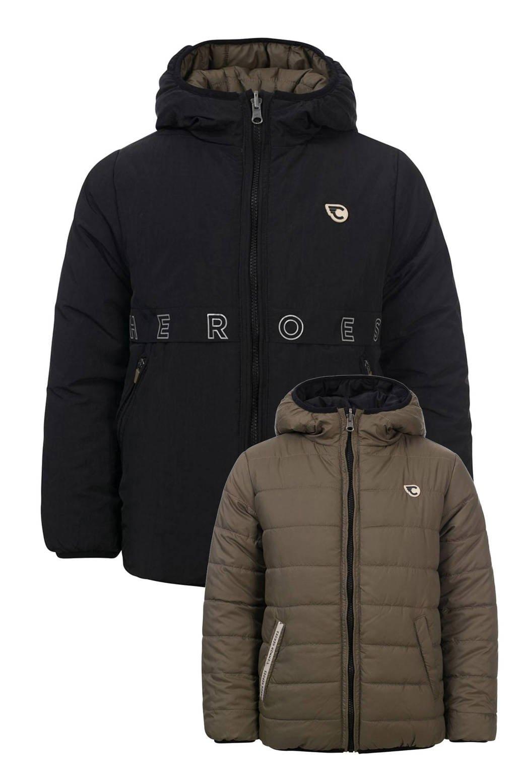 COMMON HEROES reversible gewatteerde jas arm groen/zwart, Arm groen/zwart