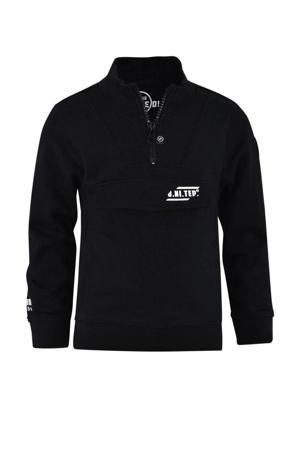 sweater Senn met tekst zwart